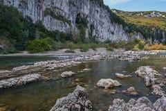 Καγιάκ στον ποταμό Ardeche, Γαλλία Στοκ Εικόνες