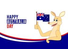 Καγκουρό κινούμενων σχεδίων που κρατά την αυστραλιανή σημαία Στοκ Εικόνες