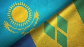 Καζακστάν και Άγιος Βικέντιος και Γρεναδίνες δύο υφαντικό ύφασμα σημαιών απεικόνιση αποθεμάτων