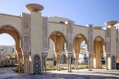 Καζαμπλάνκα στο Μαρόκο Μουσουλμανικό τέμενος Χασάν ΙΙ στοά arcade Στοκ Εικόνα