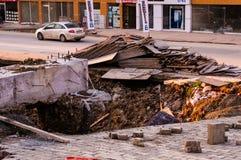 Καθίζηση εδάφους στην περιοχή κατασκευής Στοκ Εικόνα