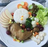 Καθαρά τρόφιμα στο άσπρο πιάτο στοκ εικόνα με δικαίωμα ελεύθερης χρήσης