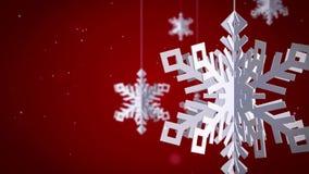 Καθαρά Snowflakes τρισδιάστατα στο κόκκινο υπόβαθρο απεικόνιση αποθεμάτων