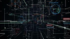 Καθαρή σήραγγα γραμμών με τη γραφική παράσταση, διάγραμμα, ενδιάμεσο με τον χρήστη μπροστινή κίνηση απόθεμα βίντεο