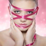 καθαρή στενή υγεία πρότυπο φυσικό αισθησιακό skin spa προσώπου προσοχής ομορφιάς ανασκόπησης επάνω στη λευκή γυναίκα wellness Ομο Στοκ Φωτογραφία