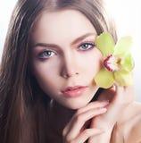 καθαρή υγειονομική περίθαλψη κοριτσιών προσώπου ομορφιάς υγιής Στοκ εικόνα με δικαίωμα ελεύθερης χρήσης