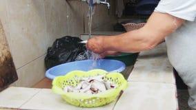 Καθαρίζει τα ψάρια Νερό ψαριών ξεβγαλμάτων από τη βρύση απόθεμα βίντεο