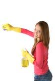 καθαρίζοντας γυναίκα κοριτσιών στοκ εικόνα με δικαίωμα ελεύθερης χρήσης