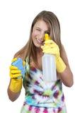 καθαρίζοντας γυναίκα σπιτιών Στοκ φωτογραφία με δικαίωμα ελεύθερης χρήσης
