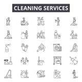 Καθαρίζοντας εικονίδια γραμμών υπηρεσιών, σημάδια, διανυσματικό σύνο απεικόνιση αποθεμάτων
