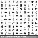 100 καθαρίζοντας εικονίδια σπιτιών καθορισμένα, απλό ύφος ελεύθερη απεικόνιση δικαιώματος