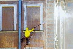καθαρίζοντας εργαζόμεν&omi Στοκ Φωτογραφία