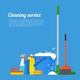Καθαρίζοντας διανυσματική απεικόνιση έννοιας εταιρείας υπηρεσιών Σχέδιο αφισών εργαλείων σπιτιών στο επίπεδο ύφος Στοκ φωτογραφίες με δικαίωμα ελεύθερης χρήσης