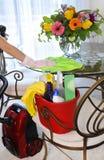 Καθαρίζοντας κάδος υπηρεσιών με τον καθαρισμό των προμηθειών Στοκ φωτογραφία με δικαίωμα ελεύθερης χρήσης