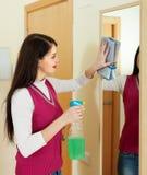 Καθαρίζοντας καθρέφτης γυναικών Brunette Στοκ εικόνα με δικαίωμα ελεύθερης χρήσης