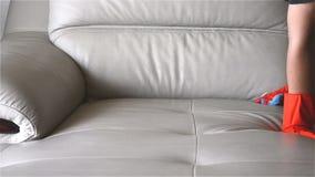 Καθαρίζοντας καναπές δέρματος ατόμων απόθεμα βίντεο