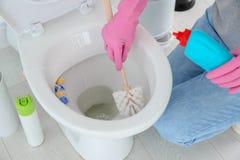 Καθαρίζοντας κύπελλο τουαλετών γυναικών στοκ φωτογραφία με δικαίωμα ελεύθερης χρήσης