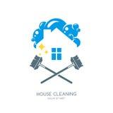 Καθαρίζοντας λογότυπο υπηρεσιών, έμβλημα ή πρότυπο σχεδίου εικονιδίων Καθαρές σπίτι και απεικόνιση σφουγγαριστρών ελεύθερη απεικόνιση δικαιώματος