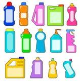 Καθαρίζοντας οικιακά προϊόντα Χημικά μπουκάλια καθαριστών υγειονομικός απεικόνιση αποθεμάτων