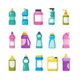 Καθαρίζοντας οικιακά προϊόντα Χημικά μπουκάλια καθαριστών Υγειονομικό διανυσματικό σύνολο εμπορευματοκιβωτίων διανυσματική απεικόνιση