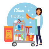 Καθαρίζοντας προσωπικό υπηρεσιών, janitor με το σύνολο καροτσακιών των προμηθειών και των εργαλείων οικιακού εξοπλισμού τα εύκολα ελεύθερη απεικόνιση δικαιώματος