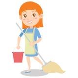 Καθαρίζοντας σπίτι νοικοκυρών του χαρακτήρα Στοκ Φωτογραφία