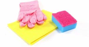 Καθαρίζοντας σφουγγάρι, ύφασμα και γάντια απόθεμα βίντεο