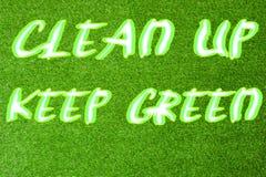 Καθαρίστε επάνω το πράσινο κείμενο συντηρήσεων διανυσματική απεικόνιση