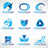 Καθαρίστε και διανυσματικό καθορισμένο σχέδιο λογότυπων υπηρεσιών οικοκυρικής απεικόνιση αποθεμάτων