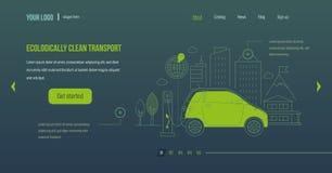 καθαρίστε οικολογικά τη μεταφορά Ηλεκτρικό αυτοκίνητο, μηχανή κοντά στο σταθμό χρέωσης απεικόνιση αποθεμάτων