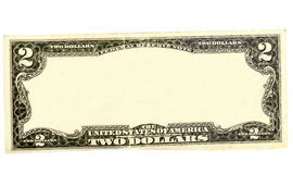 Καθαρίστε τα σύνορα λογαριασμών δύο δολαρίων με την κενή μέση περιοχή στοκ φωτογραφία