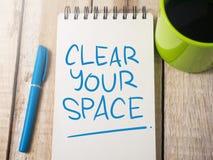 Καθαρίστε τη διαστημική, κινητήρια έννοια αποσπασμάτων λέξεών σας στοκ εικόνα με δικαίωμα ελεύθερης χρήσης