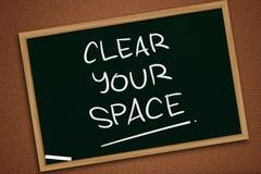 Καθαρίστε τη διαστημική, κινητήρια έννοια αποσπασμάτων λέξεών σας στοκ εικόνες