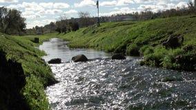 Καθαρίστε τις ροές γλυκού νερού μέσω του παλιού ποταμού σε ένα αστικό περιβάλλον με το πλύσιμο των λίθων πετρών της πράσινης χλόη απόθεμα βίντεο