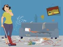 Καθαρισμός ενός ακατάστατου δωματίου Στοκ φωτογραφία με δικαίωμα ελεύθερης χρήσης