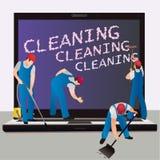 Καθαρισμός ενός φορητού υπολογιστή Στοκ εικόνες με δικαίωμα ελεύθερης χρήσης
