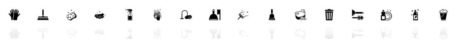 Καθαρισμός - επίπεδα διανυσματικά εικονίδια ελεύθερη απεικόνιση δικαιώματος