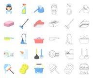 Καθαρισμός και κινούμενα σχέδια κοριτσιών, εικονίδια περιλήψεων στην καθορισμένη συλλογή για το σχέδιο Εξοπλισμός για Ιστό αποθεμ απεικόνιση αποθεμάτων