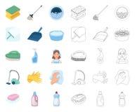 Καθαρισμός και κινούμενα σχέδια κοριτσιών, εικονίδια περιλήψεων στην καθορισμένη συλλογή για το σχέδιο Εξοπλισμός για Ιστό αποθεμ ελεύθερη απεικόνιση δικαιώματος