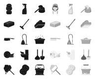 Καθαρισμός και ο Μαύρος κοριτσιών μονο εικονίδια στην καθορισμένη συλλογή για το σχέδιο Εξοπλισμός για Ιστό αποθεμάτων συμβόλων κ απεικόνιση αποθεμάτων