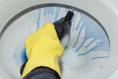 Cleanig μια τουαλέτα Στοκ εικόνα με δικαίωμα ελεύθερης χρήσης