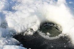 Καθαρισμός μιας πρόσφατα σκαμμένης τρύπας για την αλιεία Στοκ εικόνα με δικαίωμα ελεύθερης χρήσης
