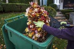 Καθαρισμός της μπροστινής αυλής κατά τη διάρκεια του φθινοπώρου Στοκ Εικόνες