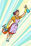 Καθαριστής γυναικών, πέταγμα superhero υπηρεσία ελεύθερη απεικόνιση δικαιώματος