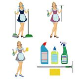 Καθαριστής κοριτσιών κοριτσιών ελεύθερη απεικόνιση δικαιώματος