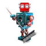 Καθαριστής ρομπότ με μια σκούπα τρισδιάστατη απεικόνιση απομονωμένος Περιέχει το μονοπάτι ψαλιδίσματος ελεύθερη απεικόνιση δικαιώματος