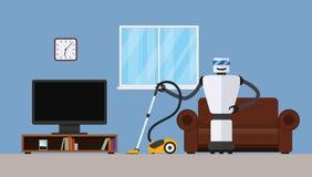 Καθαριστής ρομπότ στο εγχώριο εσωτερικό ελεύθερη απεικόνιση δικαιώματος