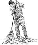 Καθαριστής στο πάρκο διανυσματική απεικόνιση