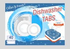 Καθαριστικές ετικέττες πλυντηρίων πιάτων Ρεαλιστική απεικόνιση με τα πιάτα στον παφλασμό και τις φυσαλίδες νερού Σχεδιάγραμμα αφι