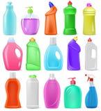 Καθαριστικό πλαστικό κενό εμπορευματοκιβώτιο κινούμενων σχεδίων μπουκαλιών διανυσματικό με detergency το υγρό και οικιακό καθαρότ απεικόνιση αποθεμάτων
